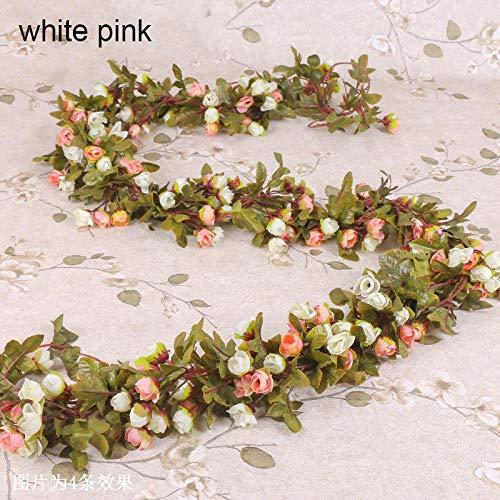 Zyf Kunstbloemen Vine Garland Fake Ivy Arch hangende decoratieve huwelijk huis muur rotan planten bladeren decoratie wit roze