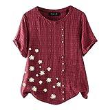 Xmiral Bluse Tunica Tops T Shirt Donna Maglie Sciolto O Camicia Camicetta T-Shirt O-Collo Manica Corta con Stampa Floreale Margherita da Donna ( L,Vino )