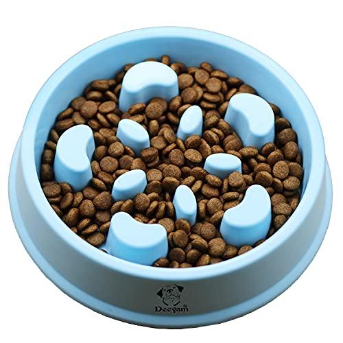 Decyam Anti Schling Napf Hund Hundenapf Langsame Fütterung Langsam Fressen Slow Feeder Dog Bowl (Small, Blau)