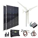 AUECOOR 300W Panneau solaire pour turbine éolienne hybride : 100 W + 2 panneaux solaires mono 100 W + accessoires pour camping-car, camping-car, camping-car, bateau, caravane,
