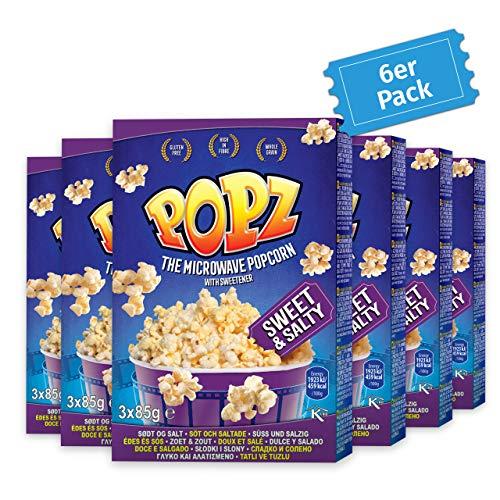 Popz Sweet & Salty Popcorn 6er Pack (6 x 255 g), Popcorn Mais für das perfekte Filmerlebnis zu Hause, Mikrowellenpopcorn mit leckerem salzig süßen Geschmack