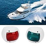 Qiilu Coppia di luci di navigazione per barche, luci di segnalazione sferiche LED verde ro...