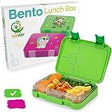 TAKWAY Kinder Brotdose mit Fächern (variabel 4 oder 6) | Lustiges Affen Motiv | robuste Bento Box | Kindergarten Lunchbox mit Unterteilungen (grün)
