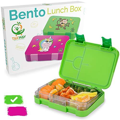 TAKWAY Kinder Brotdose mit Fächern (variabel 4 oder 6) | Lustiges Affen Motiv | Bento Box auslaufsicher und robust | Kindergarten Lunchbox mit Unterteilungen (grün)