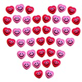 40 Pieces Heart Smile Funny Face Stress Balls Romantic Mini Foam Balls Adorable Smile Stress Balls for Valentine Party Bag Present Fillers School Carnival Reward and Wedding(Red and Pink)