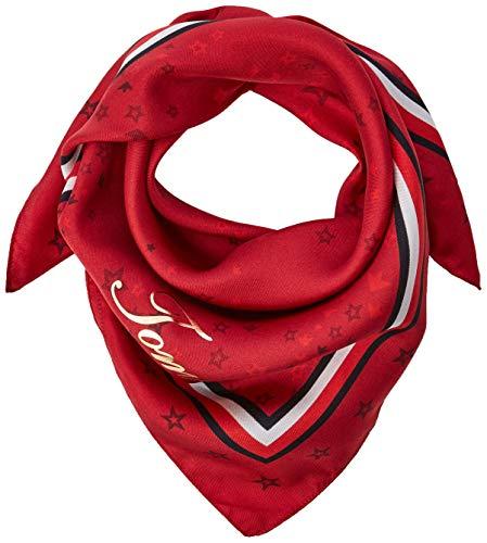 Tommy Hilfiger CNY Silk Square Foulard, Rosso (Red Tommy Print 901), Unica (Taglia Produttore: OS) Donna