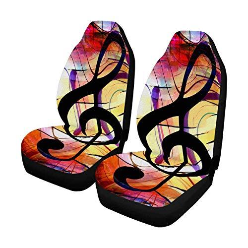 Aangepaste oude viool muzieknoten autostoelhoezen voor de voorkant van 2, autostoelbeschermer auto mat past op de meeste auto's, vrachtwagens, SUV's, van