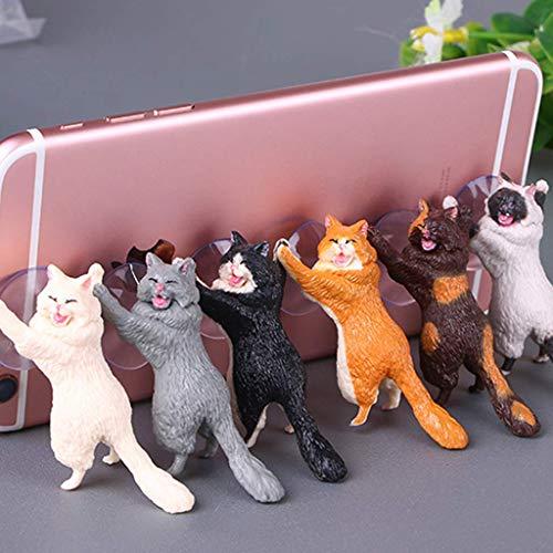 Vektenxi Katze Handyhalter Ständer mit Saugnapf, Tablets Smartphone Halter, zufällige Farbe langlebig und nützlich