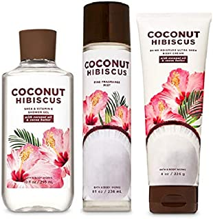 Bath and Body Works COCONUT HIBISCUS - Trio Gift Set - Body Cream - Shower Gel and Fragrance Mist - Full Size