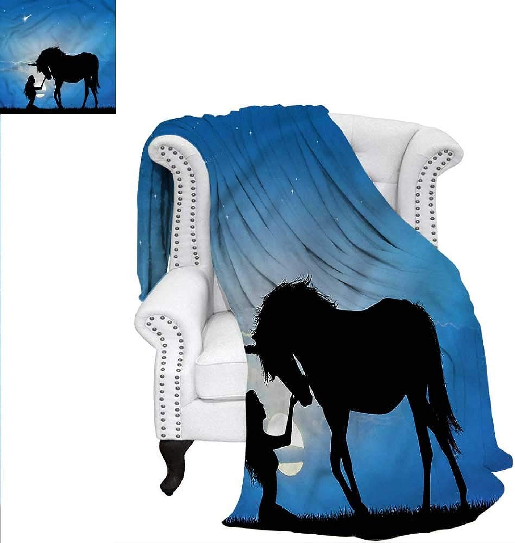 RenteriaDecor Horse Digital Printing Blanket Unicorn Girl at Night Blanket 60 x50