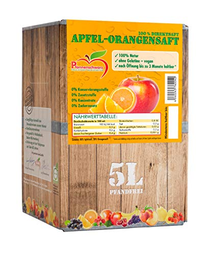 Pfannenschwarz Apfel-Orangensaft 100% Direktsaft, 2er Pack (2x5 l Bag in Box)