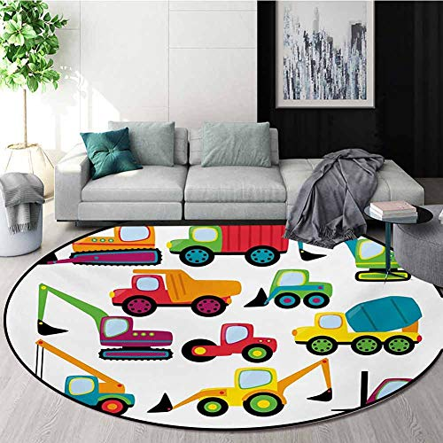 Find Discount RUGSMAT Construction Round Rug Kid Carpet,Cute Style Vehicles and Heavy Equipment Fork...