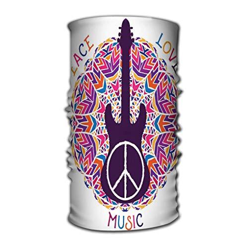 Quintion Robeson Transpirable Headwrap Hippie Símbolo de Paz Peace Love Music Sign Guitarra Adornado Colorido Mandala Concepto de diseño Banner Tarjeta Chatarra Refrescante