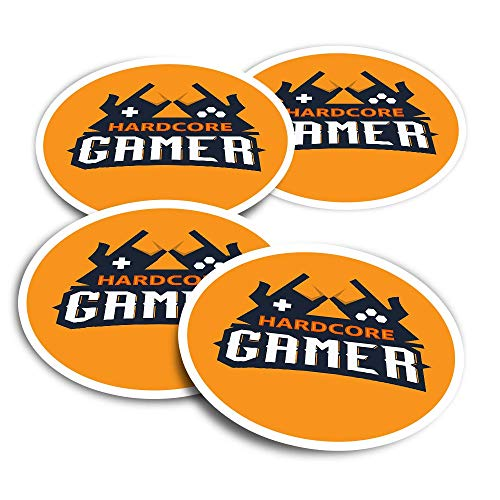 Vinyl Stickers (Set of 2) 10cm - Hardcore Gamer Sign Fun Decals for Laptops,Tablets,Luggage,Scrap Booking,Fridges #14423