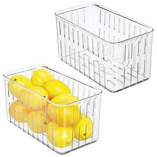 mDesign 2er-Set Kühlschrankbox – praktischer Vorratsbehälter ohne Deckel – Frischhaltedose mit Seitenöffnungen – durchsichtig