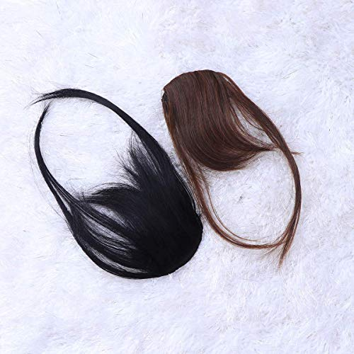 XYSQWZ 2 Pcs Mode Avant Frange Cheveux Pièce Accessoires Bang Air Extensions pour Filles Femmes Lady Adhésifs