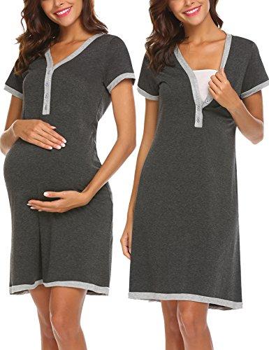 Ekouaer Womens Maternity Nursing Nightgowns Breastfeeding Dress for Hospital Pregnant Gown,Dark Grey,XX-Large