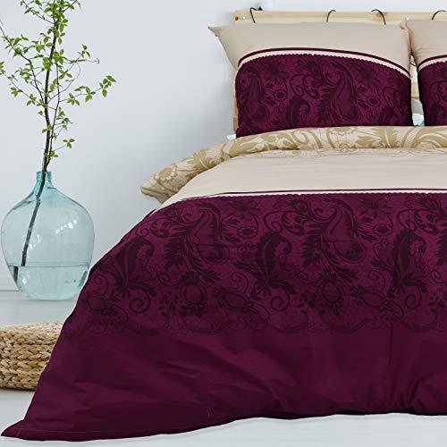Bettwäsche 135x200 cm Deluxe 2 Teilig aus 100% Baumwolle Renforce mit Reißverschluss Bettwäscheset 1 Bettbezug und 1 Kissenbezug, Farbe Beige-Creme Violett-Bordeaux, Mehrfarbig mit Muster