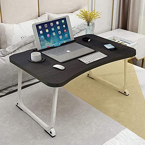 HDZW Escritorio de Regazo para computadora portátil, Soporte para computadora portátil Ajustable para Escritorio con cajón de Almacenamiento, Patas Plegables Mesa de Papel de pie para Leer, Comer