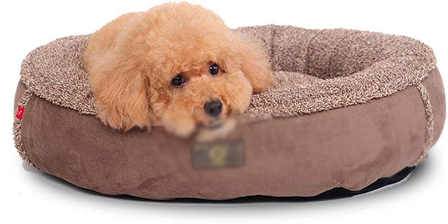 HUABABAING Pet bed Brown round Four Seasons washable cotton wool Nesting dog hole bed Pet cat and dog bed, (Size   65cm)