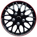 AutoStyle KT970-16 IB+R Juego de 4 Tapacubos Missouri 16 pulgadas Negro/Borde rojo, Set de 4