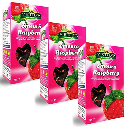 Vedda, Te Frambuesa (100+ Tazas de Té) Raspberry Tea, 100% Enteras Frutas y Hojas, Hibisco, Manzana, Rosa Mosqueta, Espino | Rico, Rejuvenecedor, (Paquete de 3, Total 225g)