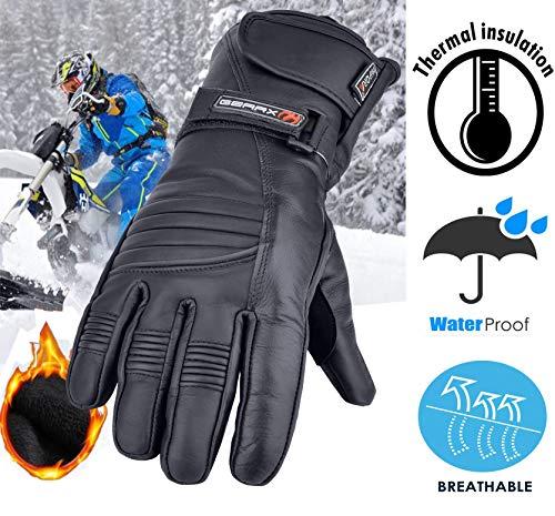 Winter Leder Motorrad Handschuhe Reflektierendes Wasserfest Gepolstert Thermo – XL - 4
