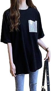 [ライラ] ビッグ シルエット ラメ Tシャツ 黒 コットン カットソー オーバー サイズ M ~ 3XL レディース