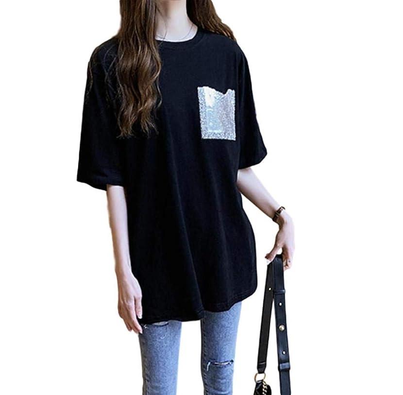 喉頭健康船上[ライラ] ビッグ シルエット ラメ Tシャツ 黒 コットン カットソー オーバー サイズ M ~ 3XL レディース