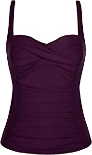 Hilor Women's Ruched Front Twist Tankini Tops Tummy Control Swimsuits Bathing Suits Retro Swim Tops