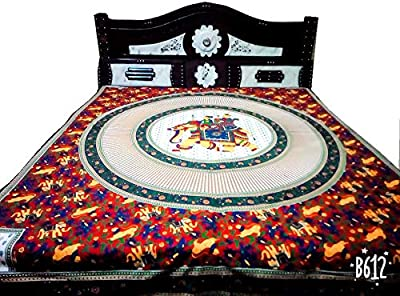 Jaipuri Double bedsheet Size (240X 210 cm) with 2 Pillow Covers Size (66 X 46 cm)