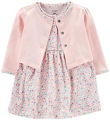 Carter's Baby Girls' 2-Piece Floral Bodysuit Dress & Cardigan Set (6 Months, Pink/White Floral)