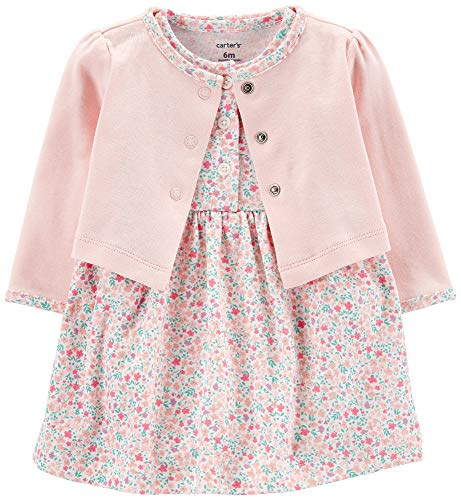 Carter's Baby Girls' 2-Piece Floral Bodysuit Dress & Cardigan Set (6 Months, Pink/White Floral)
