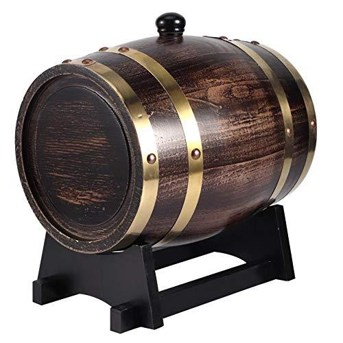 HANYF Eichenweinfass, 3L Bierbrauen Fass Spezial Fass, Bier Lagerfass, Exquisite Verarbeitung, Geeignet Für Rotwein, Schnaps, Whiskey, Tequila, Usw.
