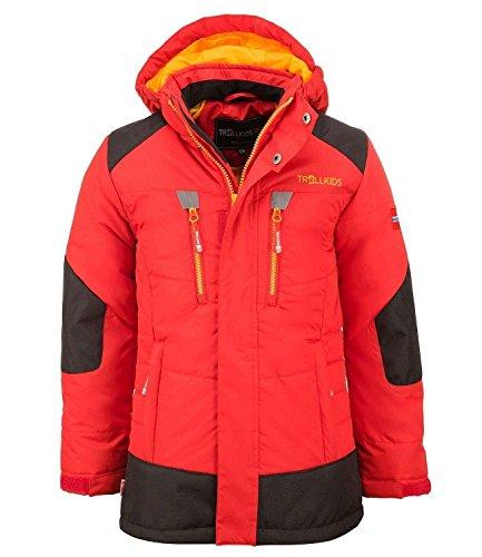 Trollkids Kinder gefütterter wasserdichter Winter-Parka, Ski- und Schneejacke Narvik, Rot/Sonnengelb, Größe 98
