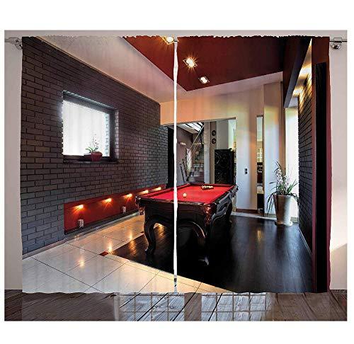 MUXIAND Modern decoratief gordijn huis met snooker tafel hobby zwembad spel plat meubel vrije tijd print woonkamer woonkamer raam draperen