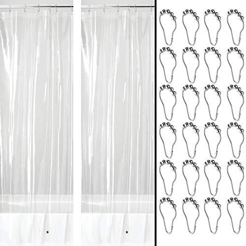 mDesign Duschvorhang PEVA mit 12 Rollenhaken – geruchloser, wasserabweisender Duschvorhang mit Magneten im Saum – perfekt als Badewannenvorhang 183 cm x 183 cm – durchsichtig & silberfarben