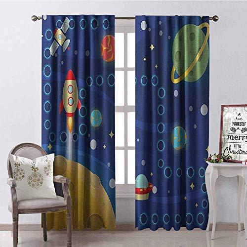Wild One Curtain Kinder-Aktivitäten-Vorhang, isoliert, mit Raummotiven, interplanetarisches Reisen, Rennen, schalldämpfender Schatten