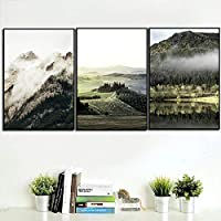 Wall Art Canvas Poster Mountain Forest Nature Landscape Print Nordic Style Picture Painting Modern Home Decoration 40x60cmx3 Unframed gifts