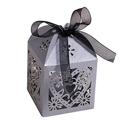 Zorpia 50pcs Love Heart Laser Gift Candy Boxes Wedding Party Favor Boxes Baby Shower Candy Box with Ribbons ZRA0168932 (Gray)