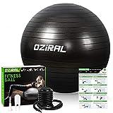 Oziral Pelota de Pilates 55cm,Anti-Burst Fitball Pilates Pelota para Yoga, Ejercicios, Gimnasia, Fitness, Equilibrio, incluidos Bomba y Manual de Usuario-Negro