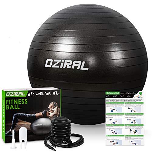 Oziral Gymnastikball Sitzball, Extra Dicker Anti-Burst Pilates Ball inkl Luftpumpe,Robuster 700KG Maximalbelastbarkeit,Yoga Ball Balance Ball für Exercise im Gym-Home -schwarz