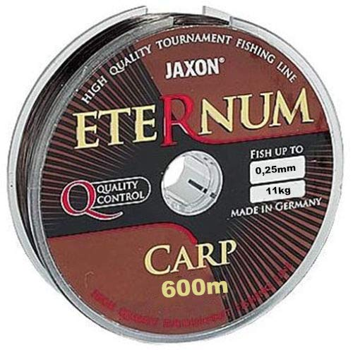 Jaxon Eternum Carp - Hilo de Pesca (300 m, 600 m, 0,25-0,35 mm), marrón, 0,25mm / 300m
