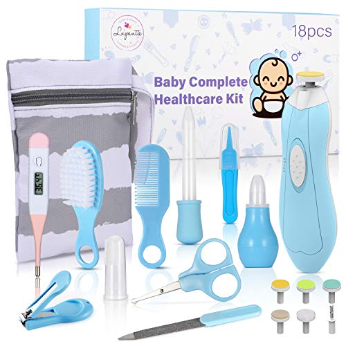 Lupantte Set para Cuidado del Bebé, 18 Piezas Kit de Aseo para Bebé con Lima de Uñas Eléctrico, Aspirador Nasal Bebé, Cepillo de Pelo y Peine, Set Cuidado Bebé Recien Nacido para Viaje y el Us