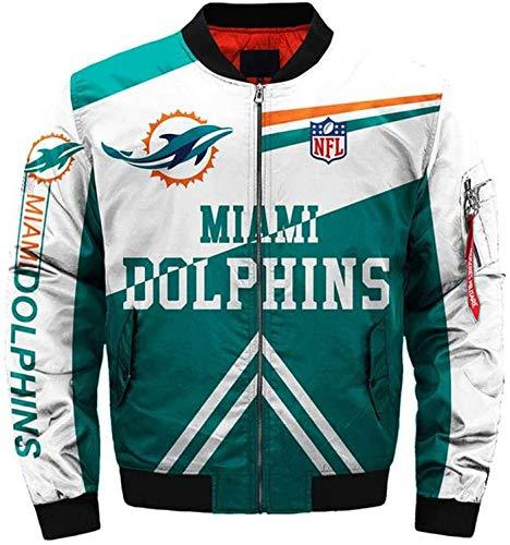 NFLSHX Chaqueta de vuelo Ciclismo Traje Ropa - Dolphins 3D Hombres Jersey de béisbol Camiseta de primavera marca Tide Zip manga larga Casual abrigo (tamaño XL)