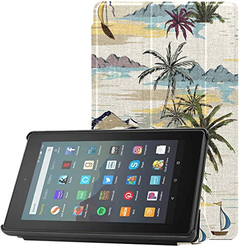 Cover KindleProtectorCase Vintage Beautiful Seamless Island Landscap KindleFire7CaseforBoys for Fire 7 Tablet (9th Generation, 2019 Release) Lightweight with Auto Sleep/Wake