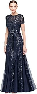 Short-Sleeve Sequined Illusion A-Line Mother of Bride/Groom Gown Style 1875