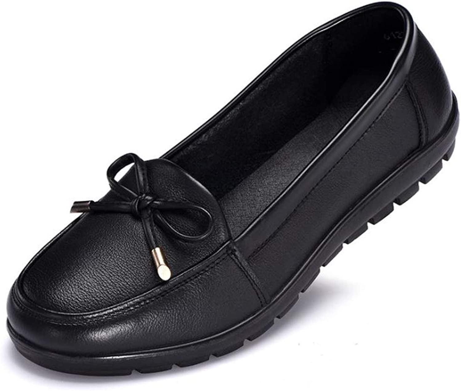 Fancyww Womens Dress shoes Genuine Leather Slip On Loafers Casual Flat Moccasins