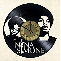 Nina Simone Vinyl Wall Clock - Handmade Artwork Home Bedroom Living Kids Room Nursery Wall Decor Great Gifts idea for Birthday, Wedding, Anniversary - Customize Your (Gold/Black)