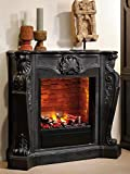 Casa Padrino Art Nouveau Fireplace with Bio Burner and Glass Black 118 x 43 x H. 111 cm Ethanol Fireplace
